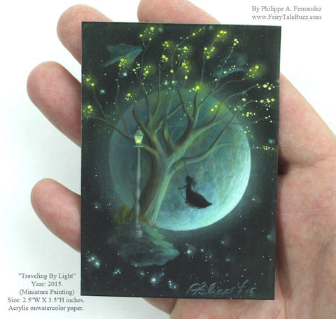 "(SOLD) ""Traveling By Light"" Original Miniature Landscape Painting By Philippe A. Fernandez."