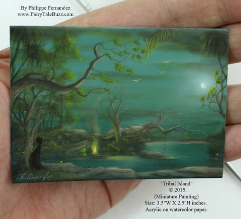 "(SOLD) ""Tribal Island"" Original Miniature Landscape Painting By Philippe A. Fernandez."