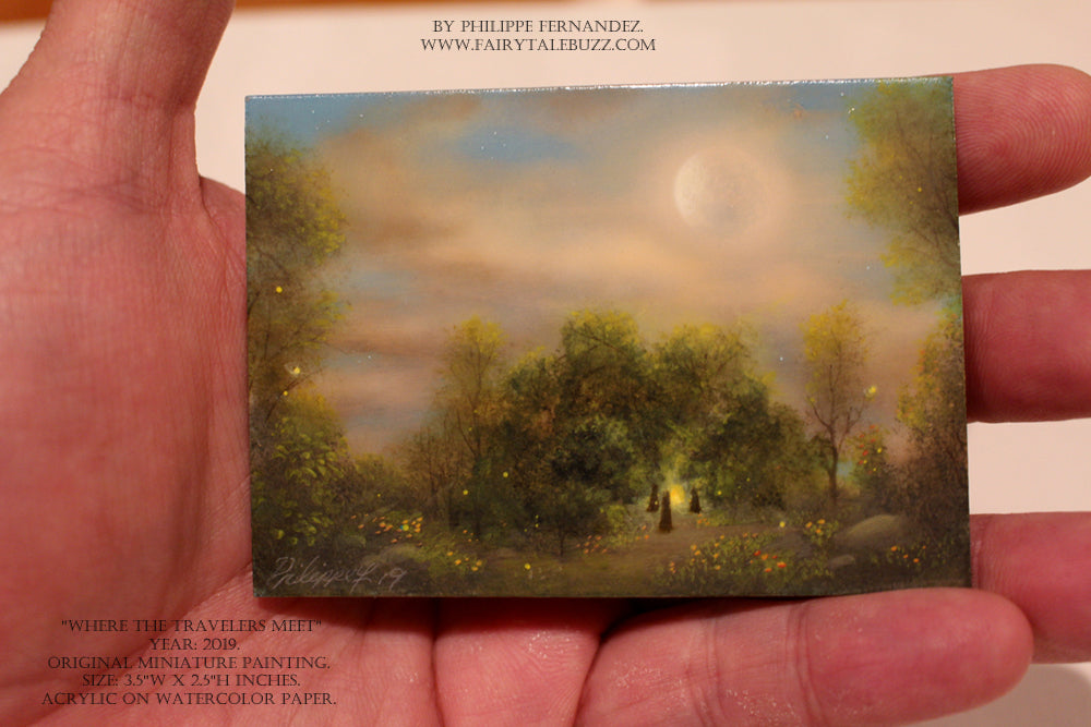 """Where the Travelers Meet"" Original Miniature Landscape Painting By Philippe A. Fernandez."