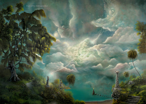 """Witch Island"" 48"" x 36"" Original Landscape Painting By Philippe A. Fernandez."