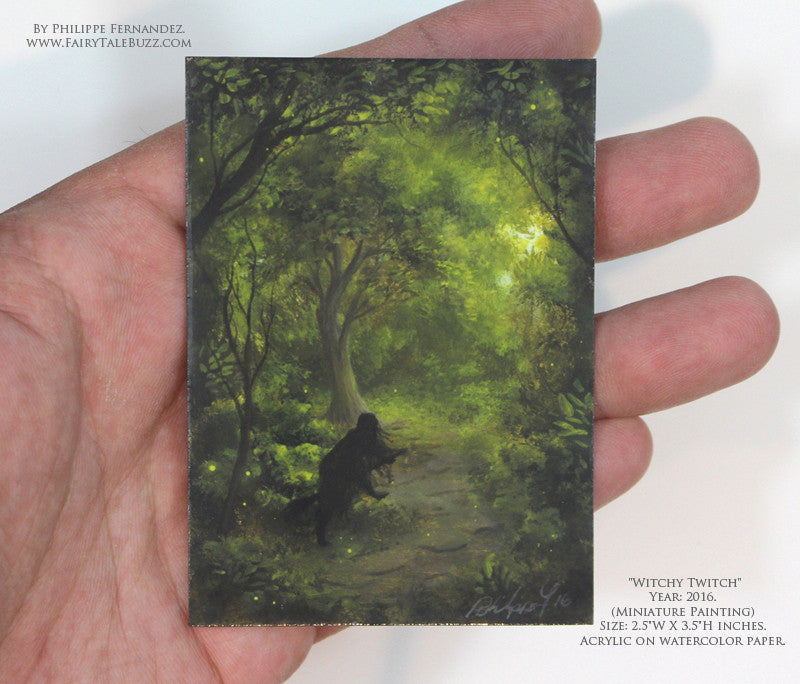 """Witchy Twitch"" Original Miniature Landscape Painting By Philippe A. Fernandez."