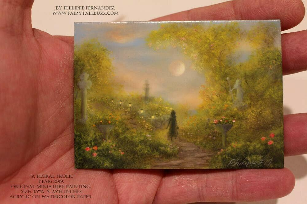 """A Floral Frolic"" Original Miniature Landscape Painting By Philippe A. Fernandez."