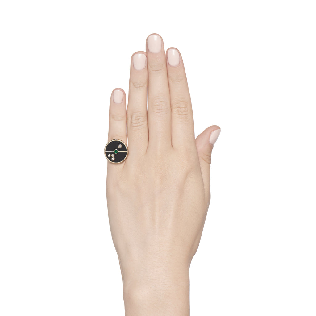 Compass Ring - Black Onyx/ Emerald