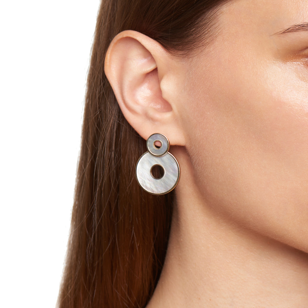 Dark Mother of Pearl Swivel Earrings