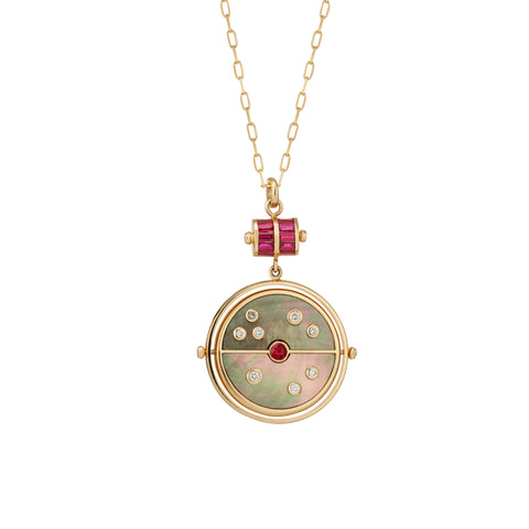 Grandfather Compass Pendant - Dark Mother of Pearl with Ruby