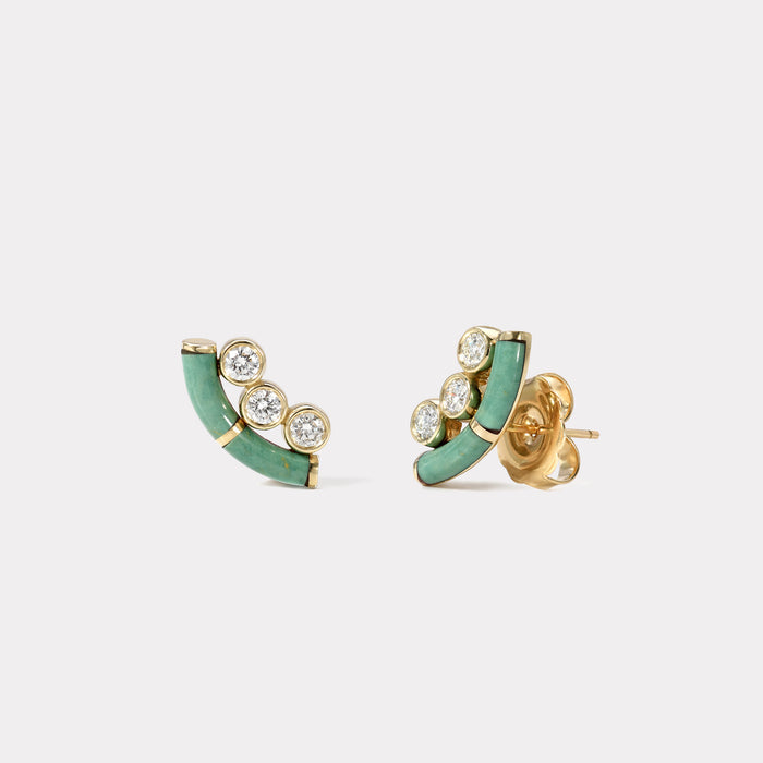Green Turquoise Crested Inlay Diamond Studs