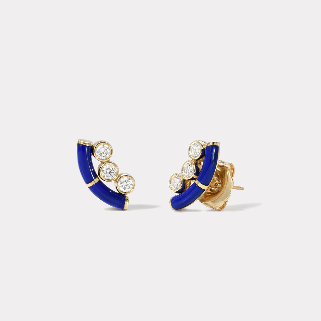 Lapis Crested Inlay Diamond Studs
