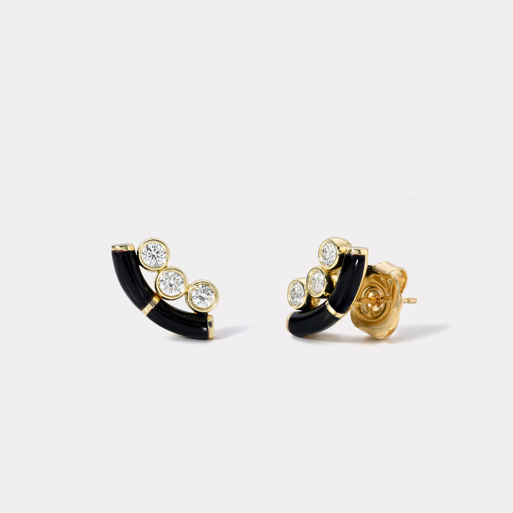 Black Onyx Crested Inlay Diamond Studs