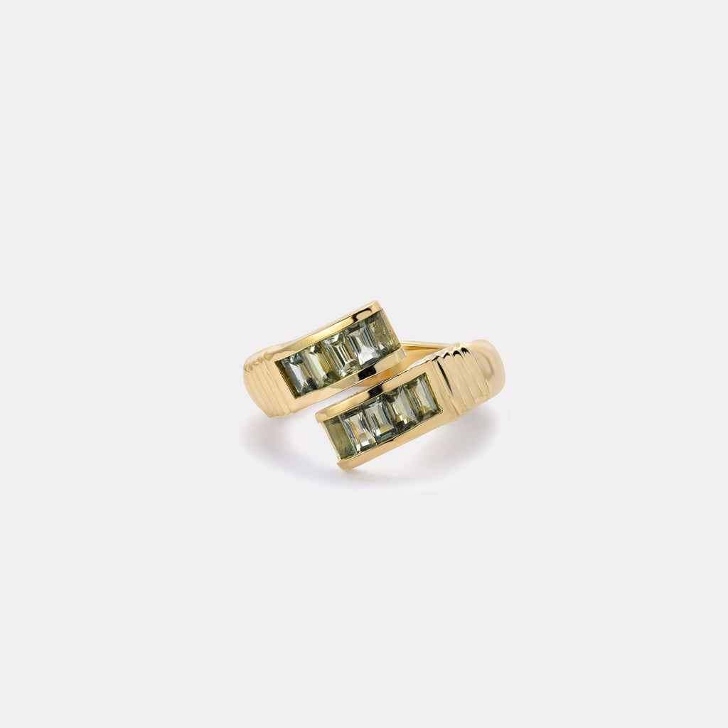 Green Sapphire Baguette Wrap Ring