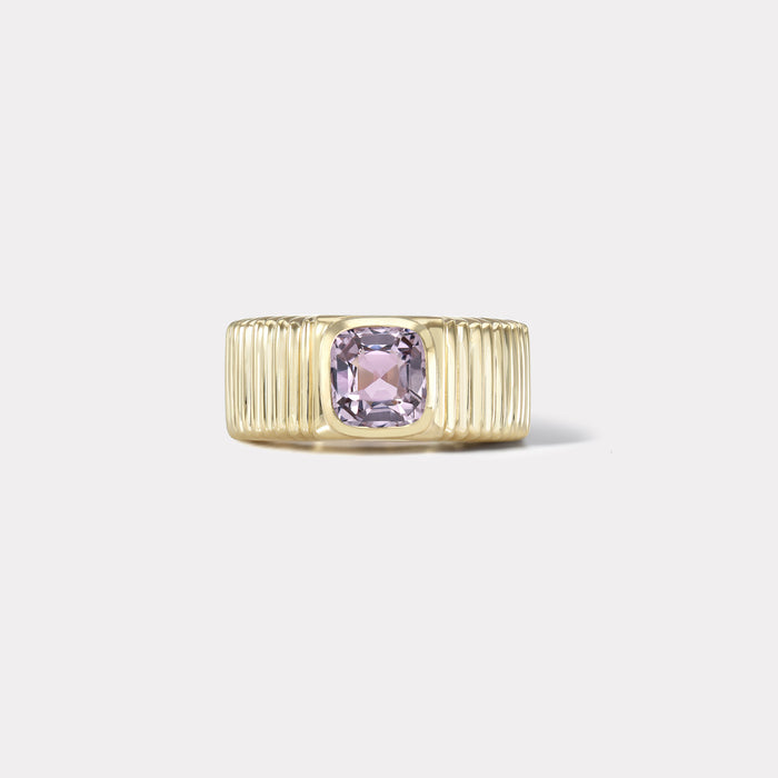 One of a kind Pleated Solitaire Band - 1.24ct Lavender Spinel