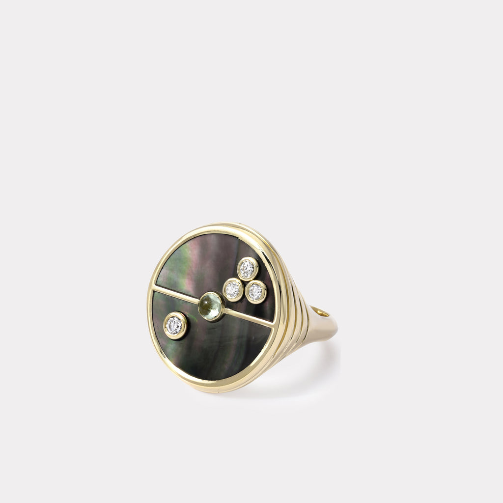 Compass Ring - Mother of Pearl / Mint Garnet