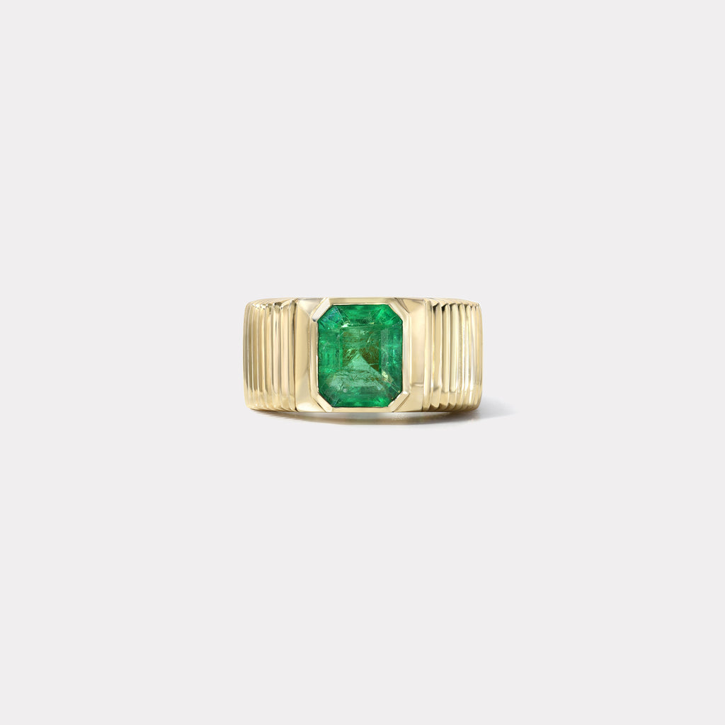 One of a kind Pleated Solitaire Band - 2.39ct Emerald
