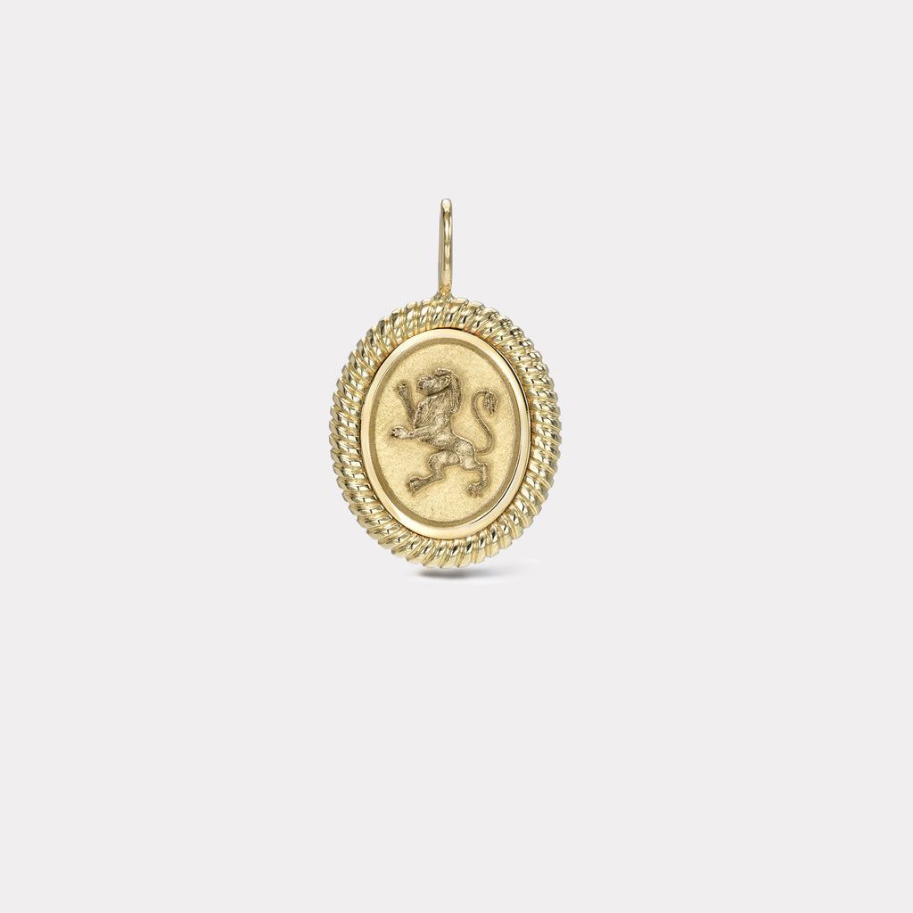 Twisted Gold Frame Lion Charm