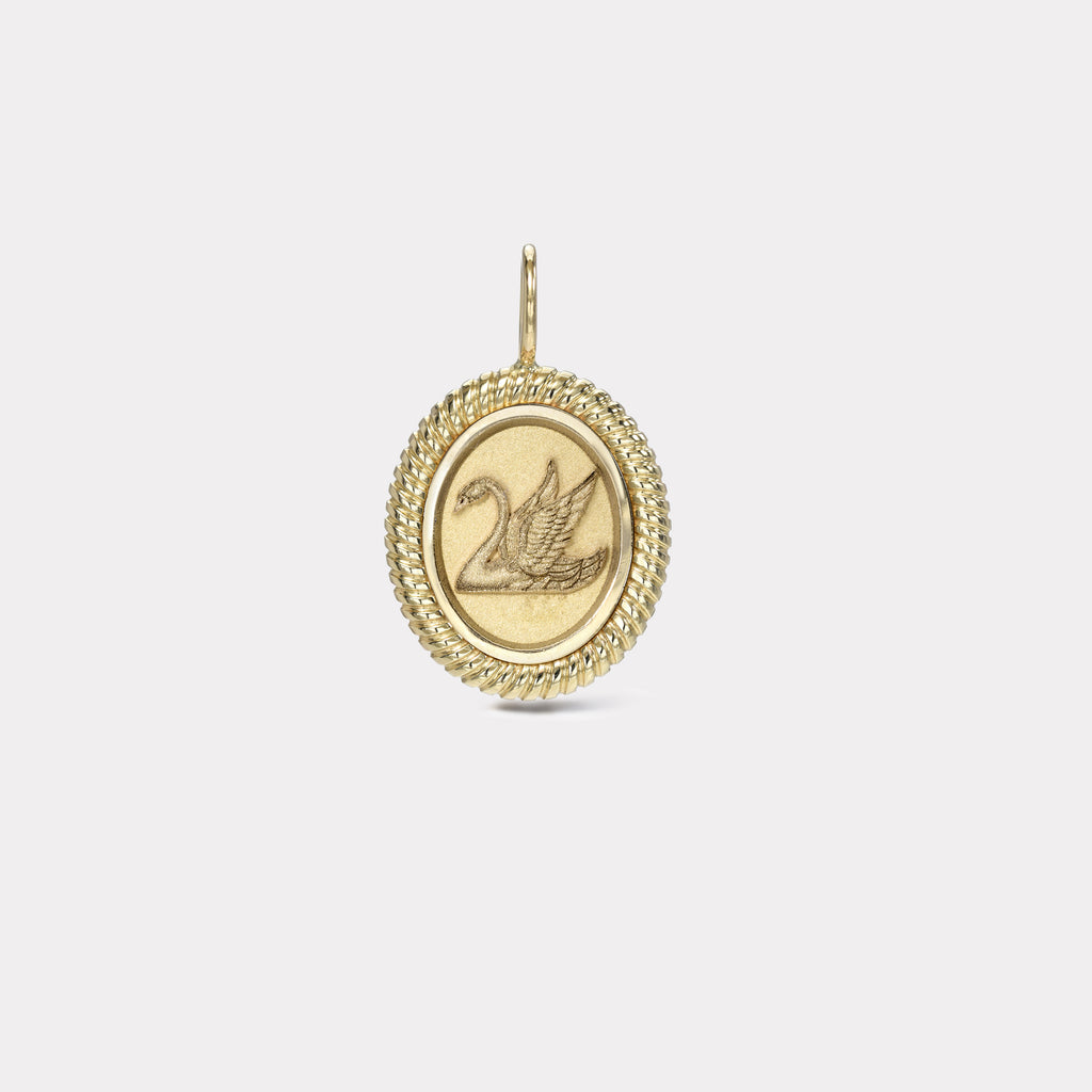 Twisted Gold Frame Swan Charm