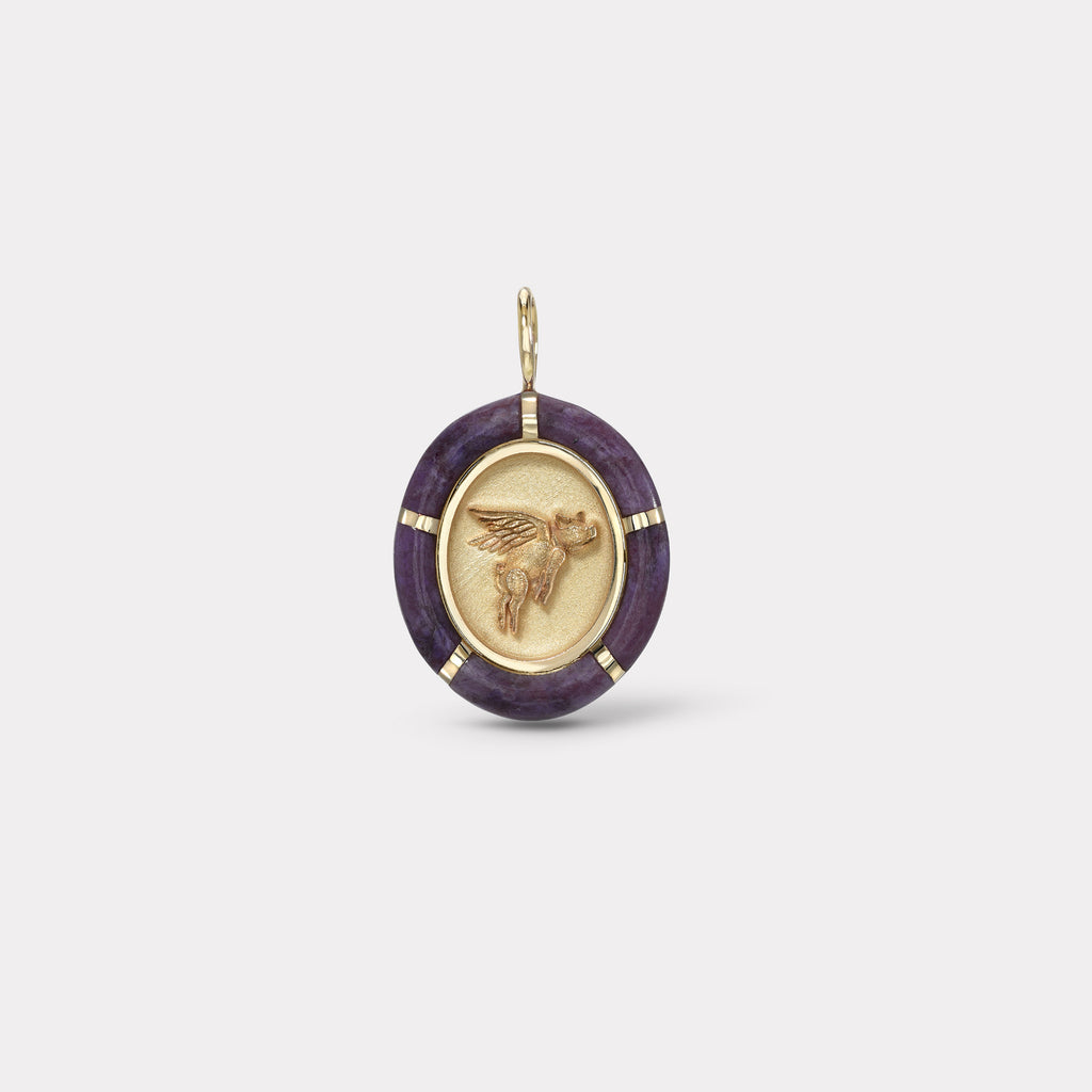 Hand cut Violet Jade Flying Pig Charm
