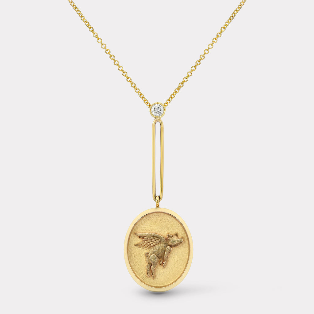 Grandfather Fantasy Signet Pendant Necklace - Flying Pig