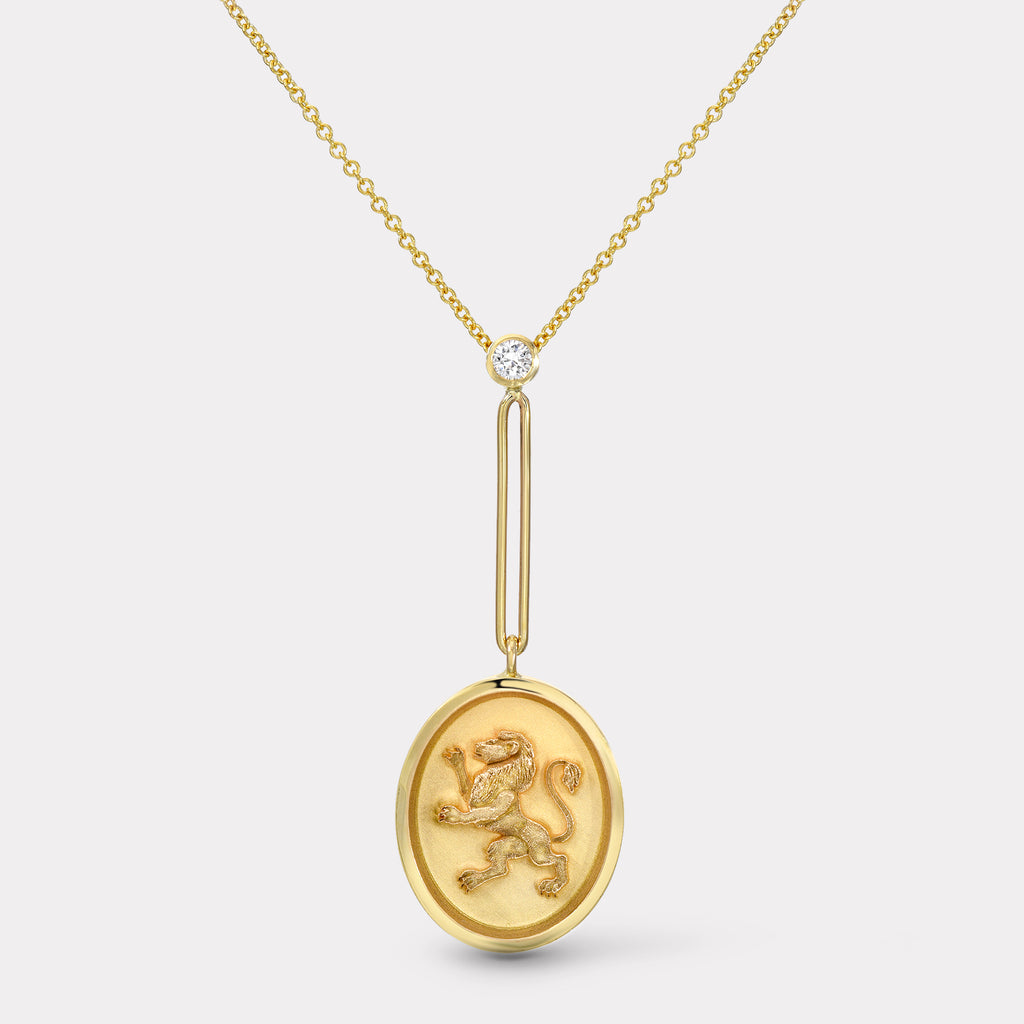Grandfather Fantasy Signet Pendant Necklace - Lion