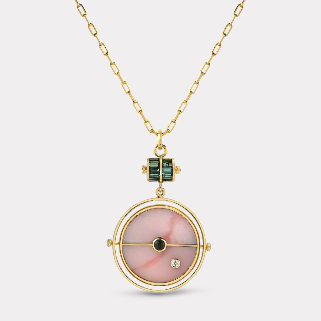 Grandfather Compass Pendant - Pink Opal with Green Tourmaline