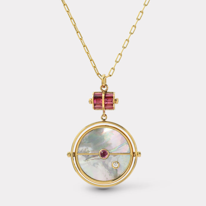 Grandfather Compass Pendant - White Mother of Pearl with Spinel