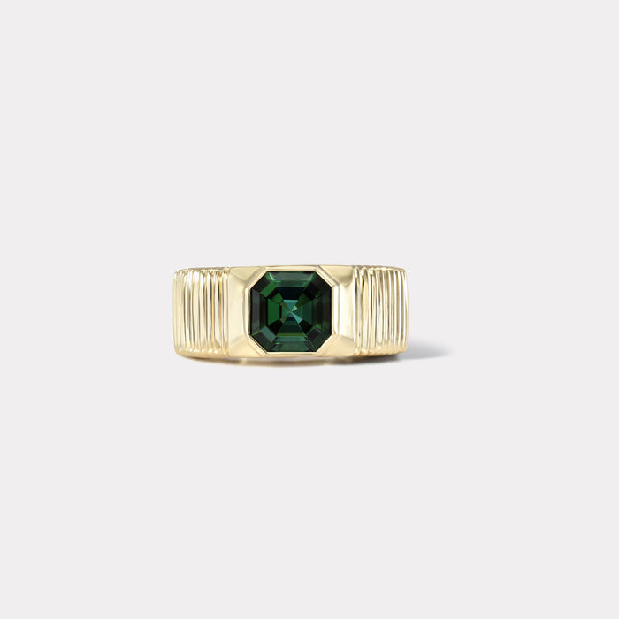 One of a kind Pleated Solitaire Band - 2.12ct Forest Green Tourmaline