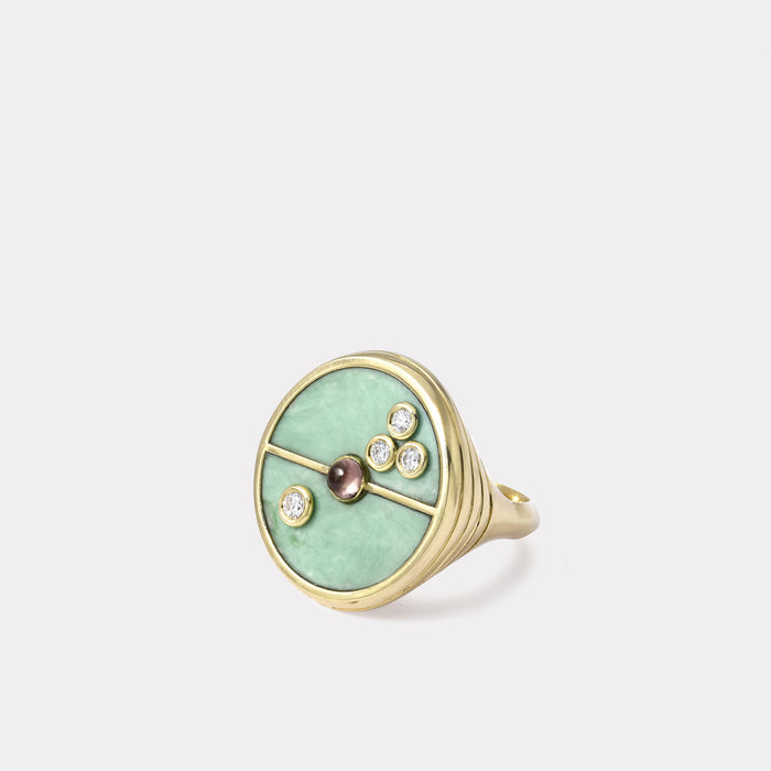 Compass Ring - Green Turquoise / Lotus Garnet