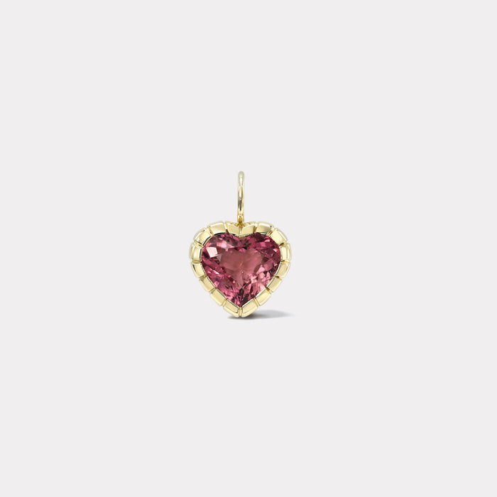 One of a Kind Heirloom Bezel 3.5ct Pink Tourmaline Heart Charm