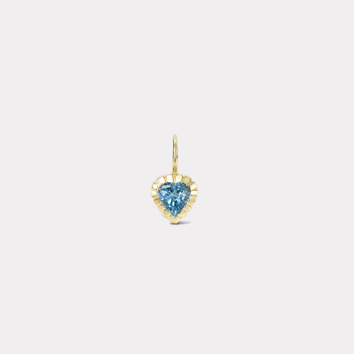 One of a Kind Heirloom Bezel .80ct Blue Heart Aquamarine Charm