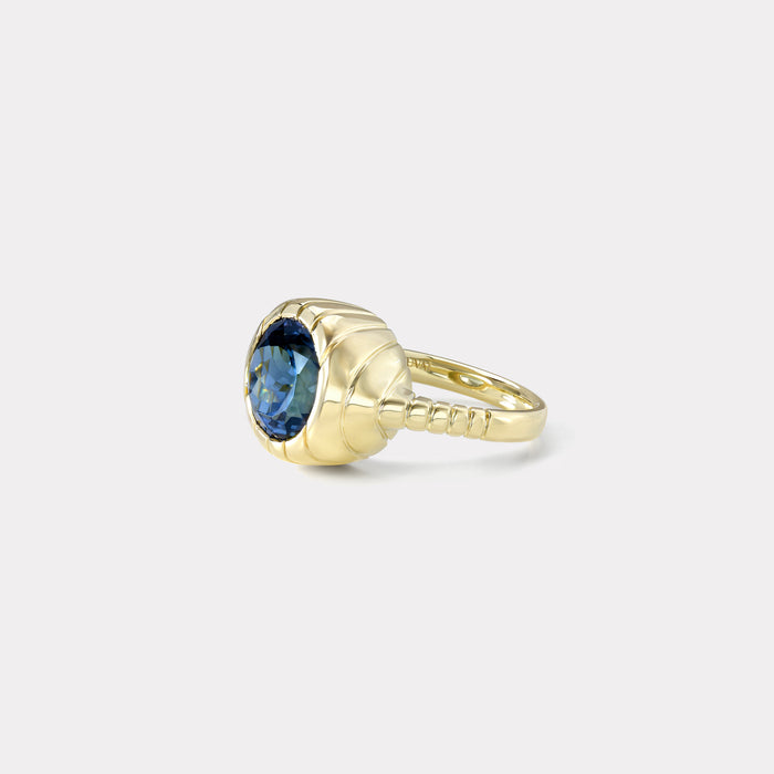 One of a kind Unheated Tanzanite Heirloom Bezel Ring