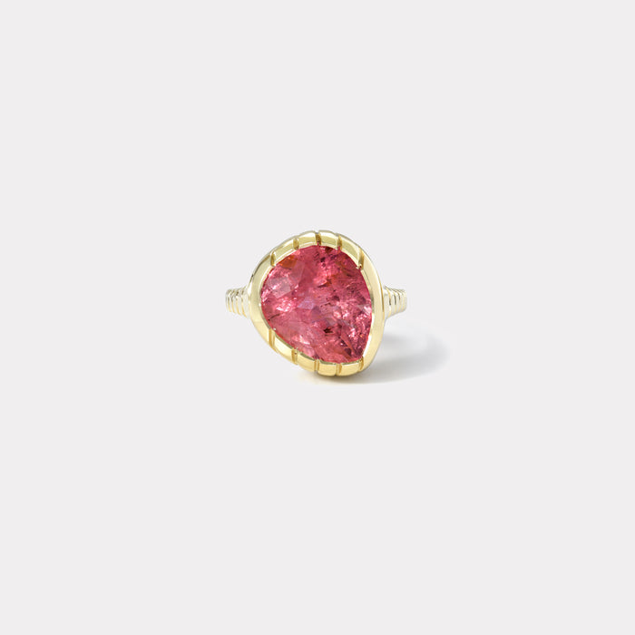One of a kind Heirloom Bezel 7.63ct Pink Tourmaline Ring