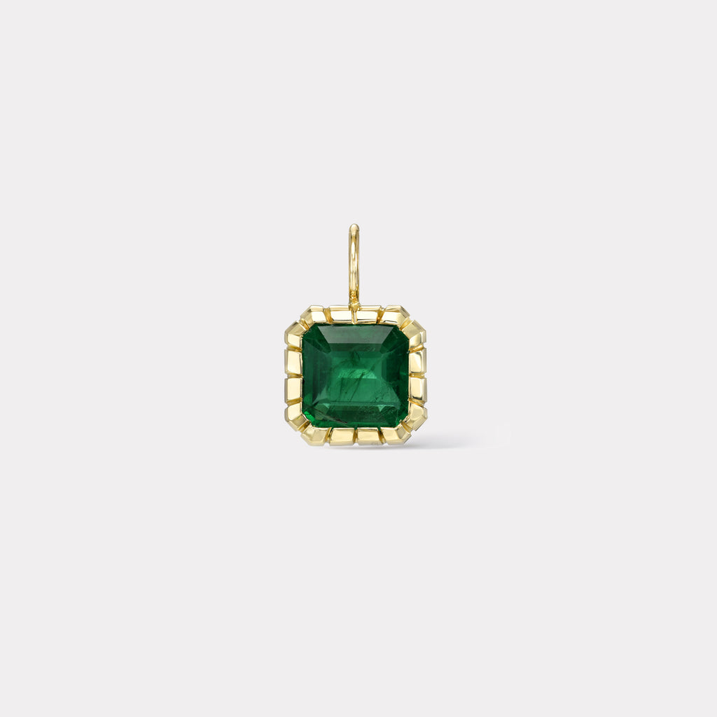 One of a Kind Emerald Heirloom Bezel Charm
