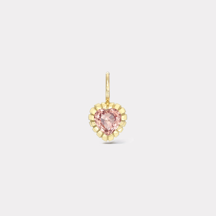 One of a Kind Heirloom Bezel Peachy Pink Sapphire Heart Charm