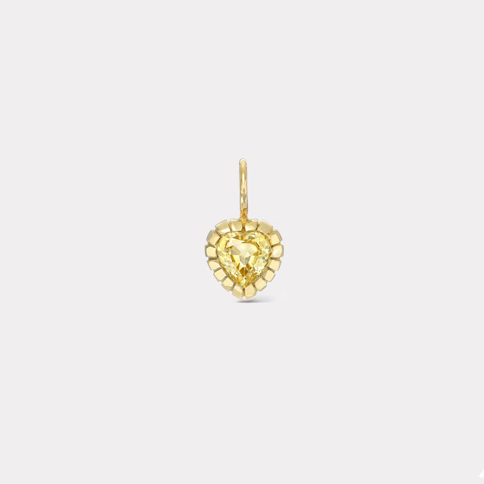 One of a Kind Heirloom Bezel Yellow Sapphire Heart Charm