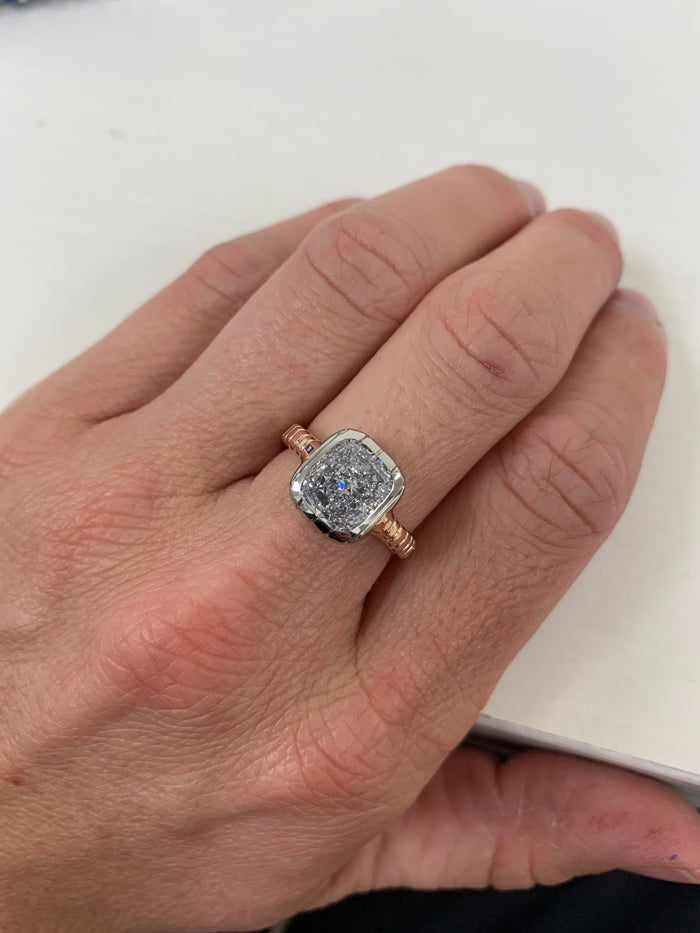 One of a kind 3.01ct Diamond Heirloom Bezel Ring