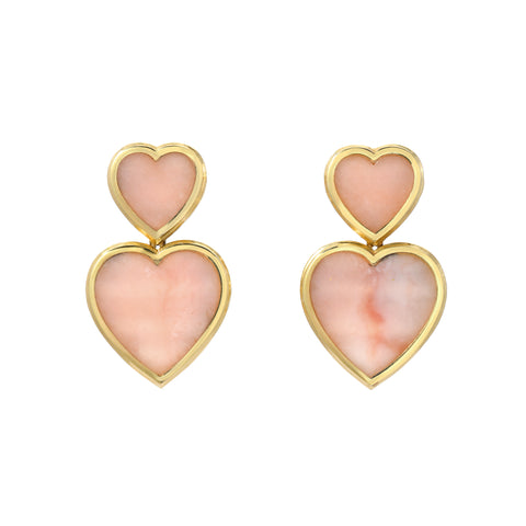 Pink Opal Double Hearts