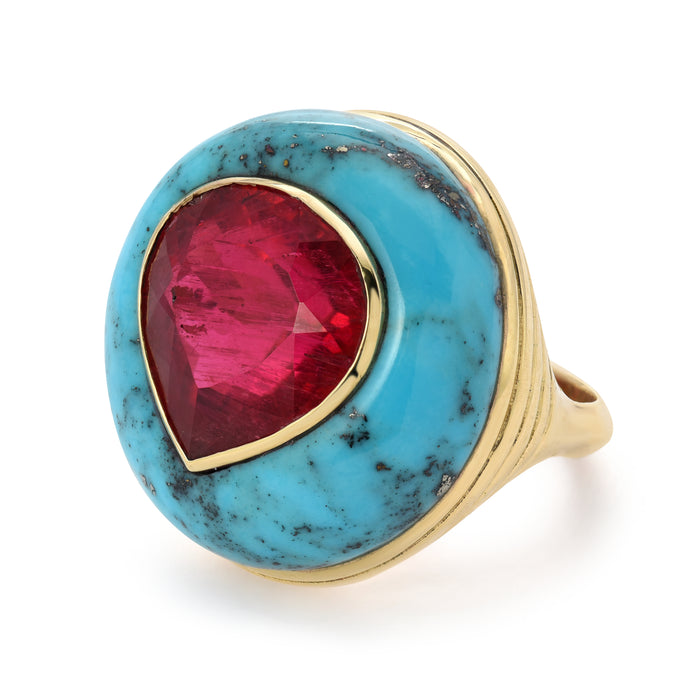 Lollipop Ring - Pink Tourmaline in Turquoise