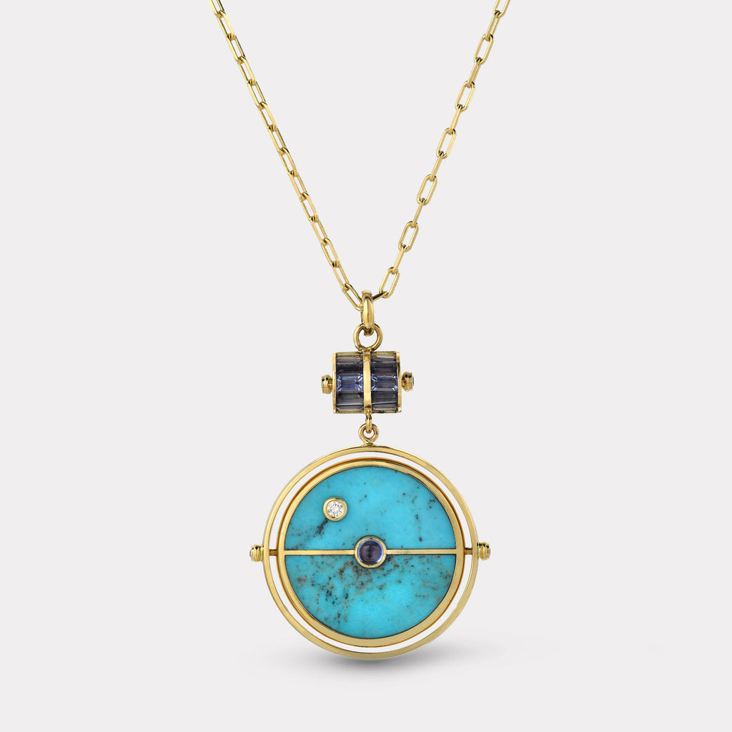Grandfather Compass Pendant - Turquoise with Tanzanite