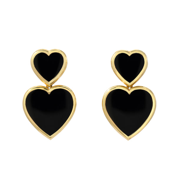 Black Onyx Double Hearts