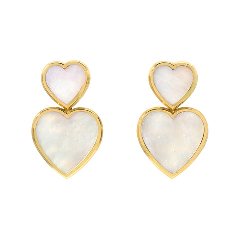 Mother of Pearl Double Hearts