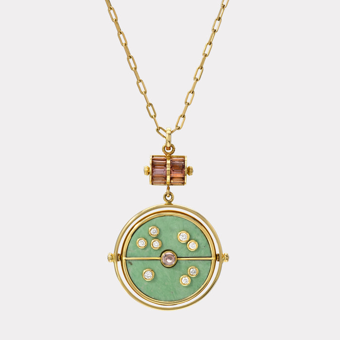 Grandfather Compass Pendant - Green Turquoise with Lotus Garnet