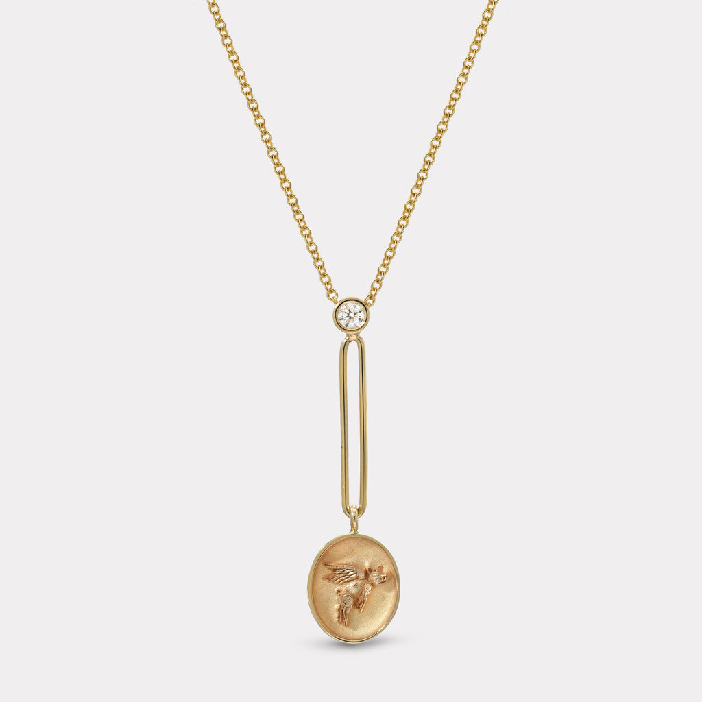Fantasy Signet Pendant Necklace - Flying Pig