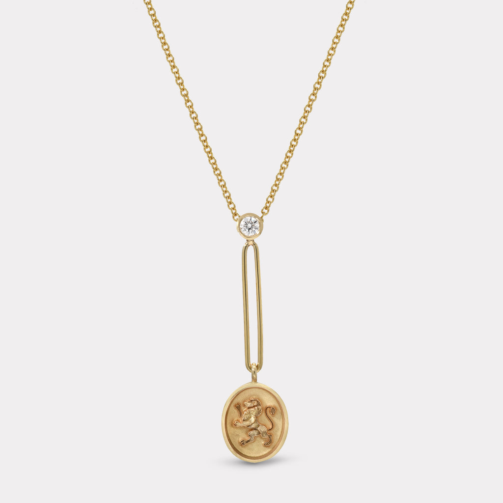 Fantasy Signet Pendant Necklace - Lion