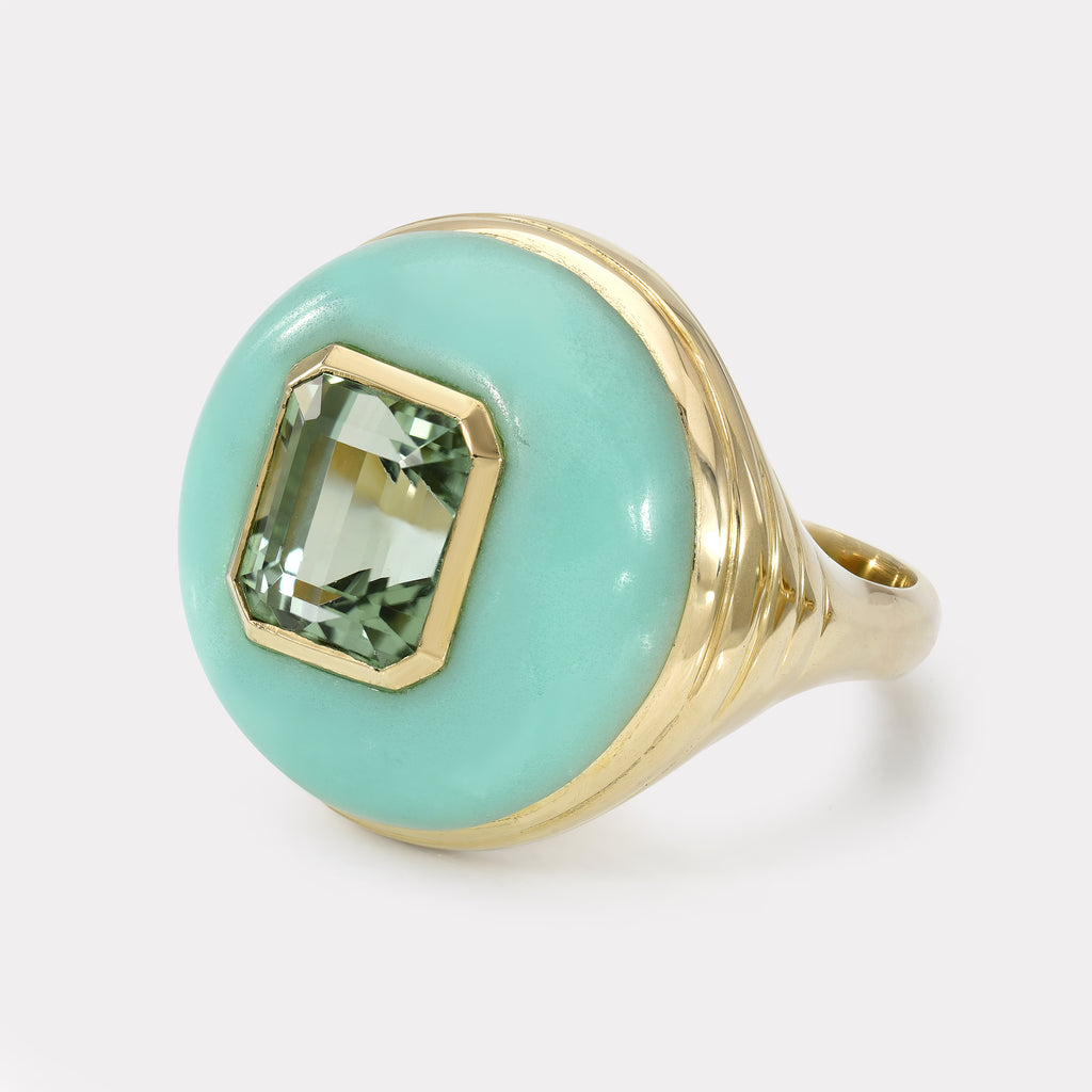 Petite Lollipop Ring - Emerald cut Green Tourmaline in Chrysoprase