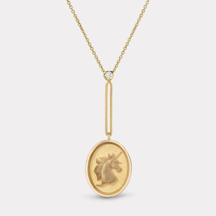 Grandfather Fantasy Signet Pendant Necklace - Unicorn