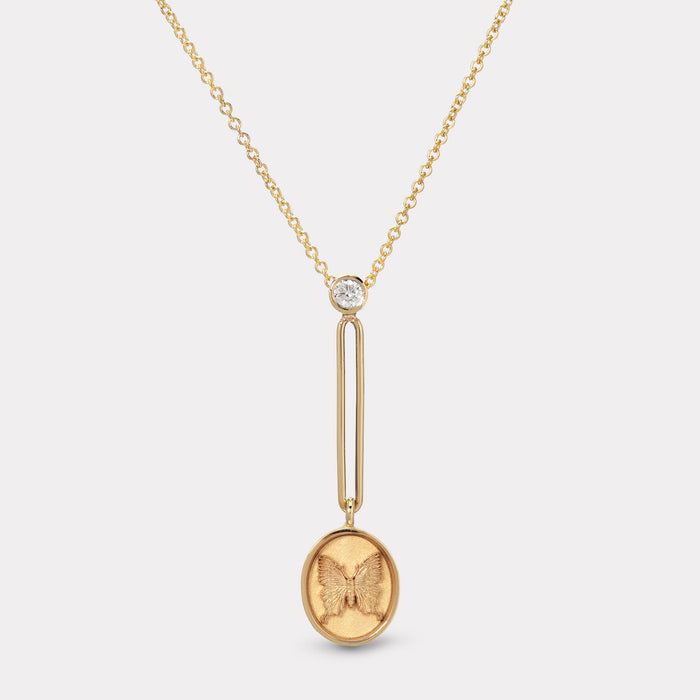 Fantasy Signet Pendant Necklace - Butterfly