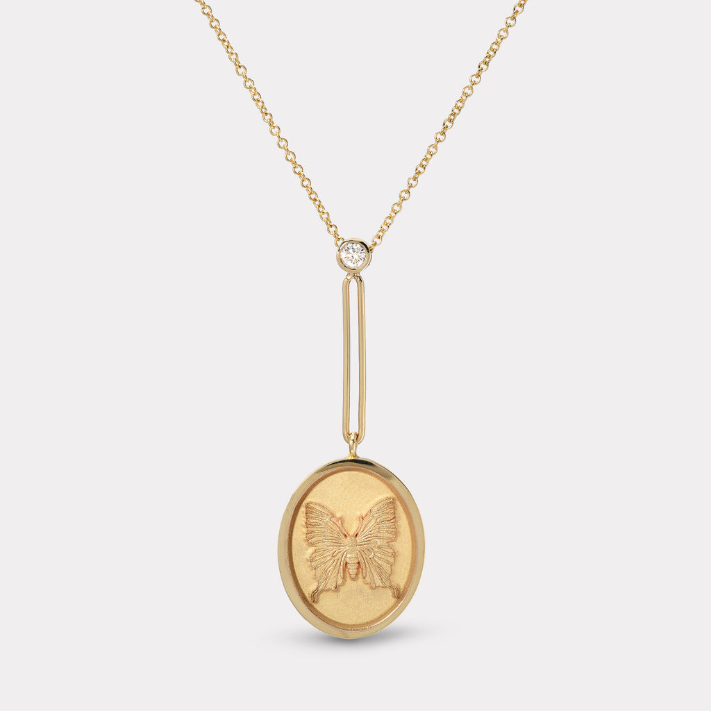 Grandfather Fantasy Signet Pendant Necklace - Butterfly