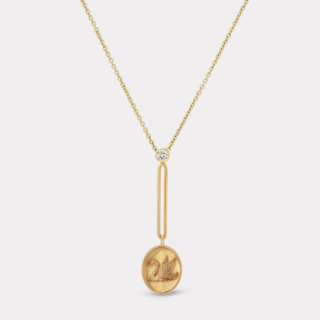 Fantasy Signet Pendant Necklace - Swan