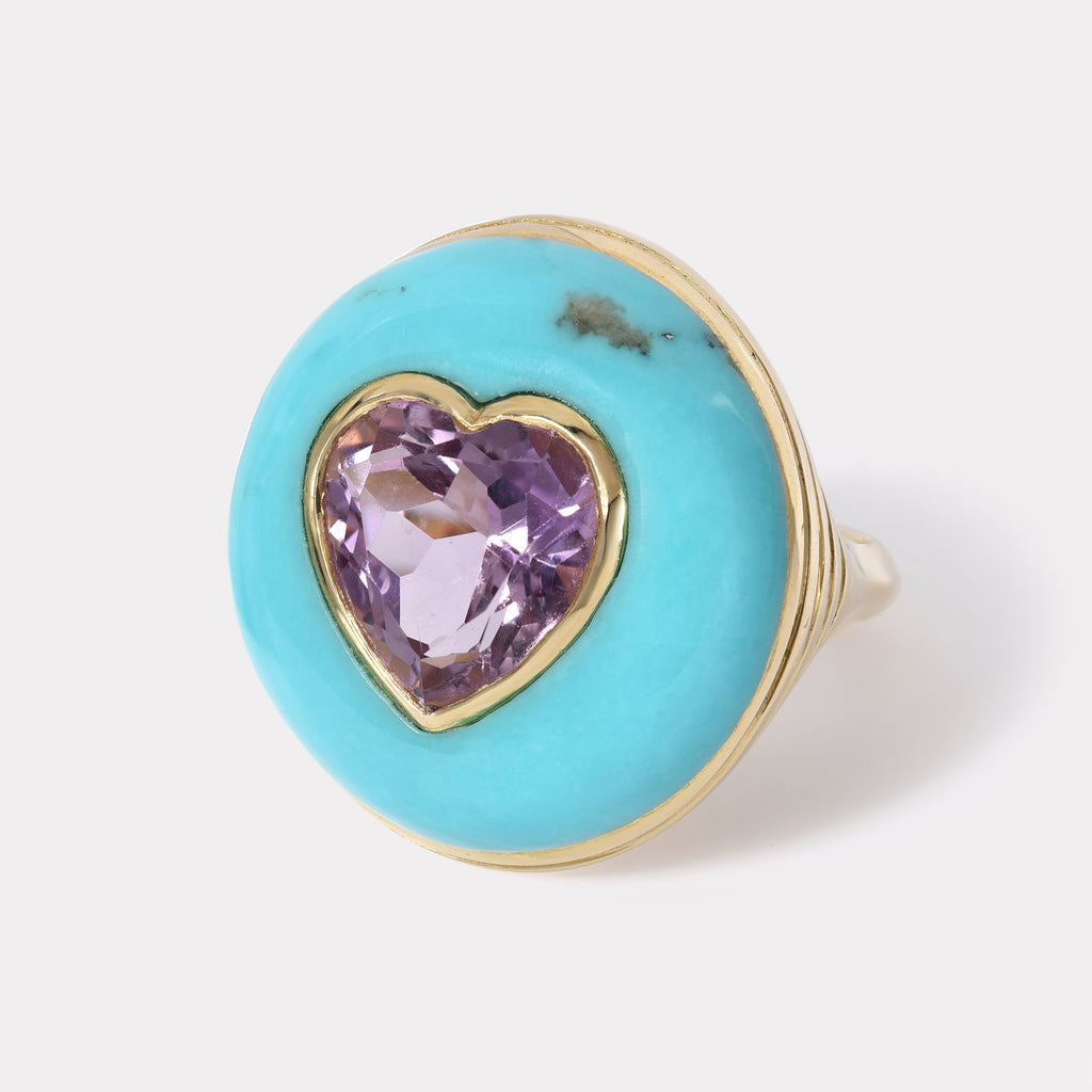 Lollipop Ring - Amethyst in Hand Carved Turquoise