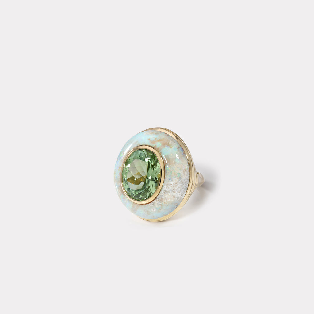 Lollipop Ring - Mint Tourmaline in Australian Opal