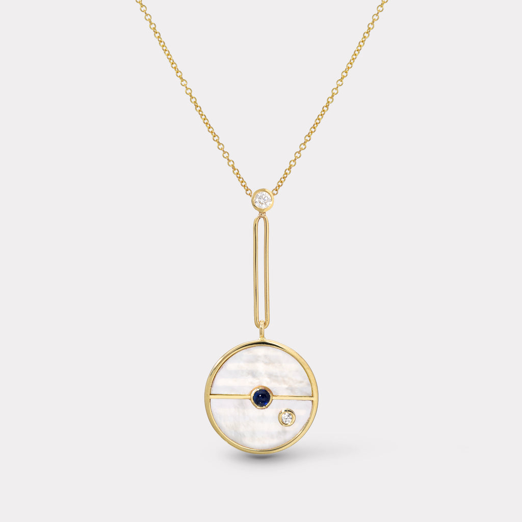 Signature Compass Pendant - White Mother of Pearl with Sapphire