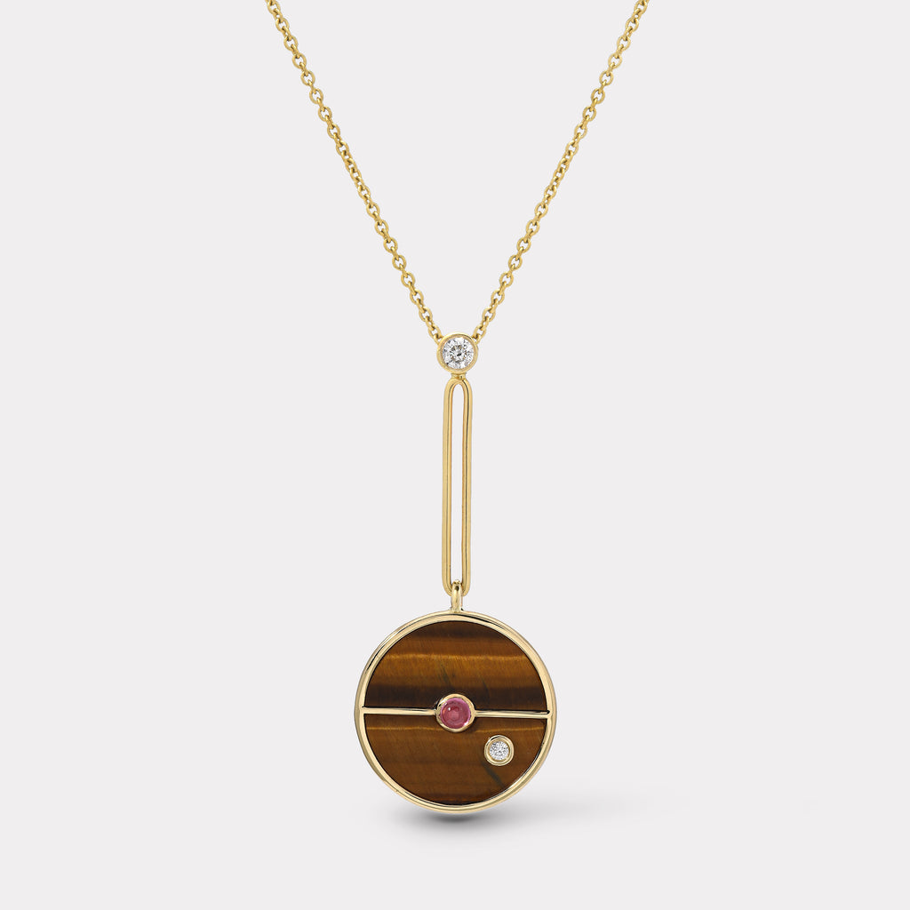Signature Compass Pendant - Tigers Eye / Pink Sapphire